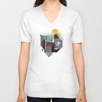 mountains V-neck T-shirts featuring Over mountains by Efi Tolia