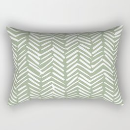 Boho Herringbone Pattern, Sage Green and White Rectangular Pillow