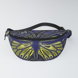 Monarch Butterfly Abstract Art Yellow Blue Fanny Pack