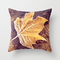 fitzgerald Throw Pillows featuring Autumn Frost by Elke Meister