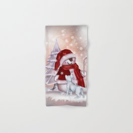 Santa Snowman with cat Hand & Bath Towel