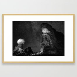 Arches National Park Monoliths Under a Star Filled Night Sky - Monochrome Framed Art Print