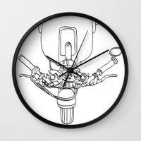 motorbike Wall Clocks featuring Motorbike by Jessica Slater Design & Illustration