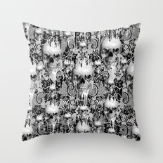 Victorian gothic lace skull pattern Throw Pillow