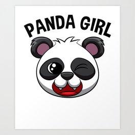 Panda Girl Pandas Girls Women Kids Giant Panda Bear Art Print