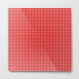 Red Background, White Diamond and Black Spots Metal Print