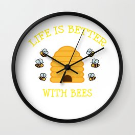 Bee Gift Beehive Life Is Better With Bees Beekeeper Present Wall Clock