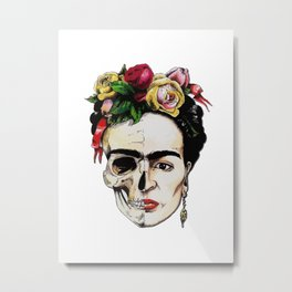 Skul rose flowers Frida Kahlo Metal Print