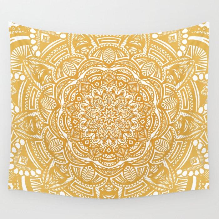 Golden Mustard Yellow Orange Ethnic Mandala Detailed Wall Tapestry ...