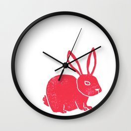 One Red Bunny Wall Clock