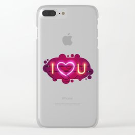 I Love You with Pink Heart Neon Sign Clear iPhone Case