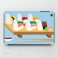 alpaca iPad Cases featuring Alpaca Sushi by Inappropriately Adorable