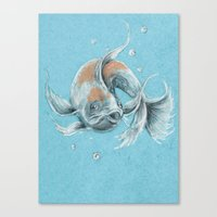 koi fish Canvas Prints featuring Koi Fish by Daydreamer