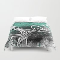 squid Duvet Covers featuring Squid by Kat Aviles