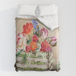 Country Flowers in a Wooden Crate Comforters