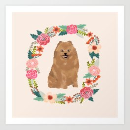 pomeranian floral wreath dog breed pet portrait pure breed dog lovers Art Print