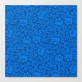 Blue Tudor Damask Canvas Print