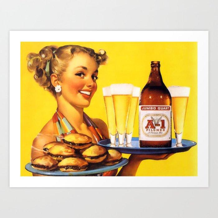 Pin Up Girl Waitress with Hamburgers and Beer Kunstdrucke