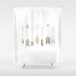 Be Brave Little Arrow Gold Shower Curtain