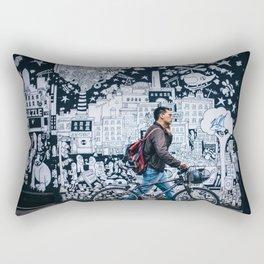MAN - BIKE - STREET - ART - PHOTOGRAPHY Rectangular Pillow