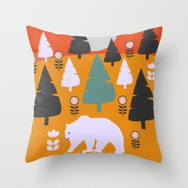 Bear walking between flowers and pine trees Throw Pillow