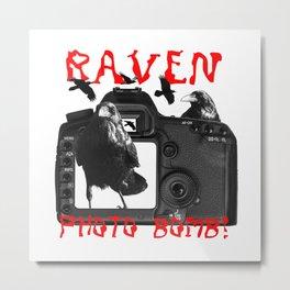 Raven Photo Bomb! Metal Print