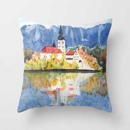 Church of the Assumption in Lake Bled Slovenia Throw Pillow