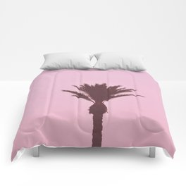 Palm Tree With Pink Background Comforters