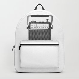 Retro portable radio. Monochrome vintage style illustration Backpack