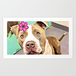 Pitbull with flower Art Print