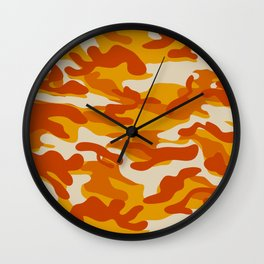 Orange Military Camouflage Pattern Wall Clock