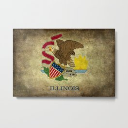 Illinois State flag, vintage on parchment paper Metal Print