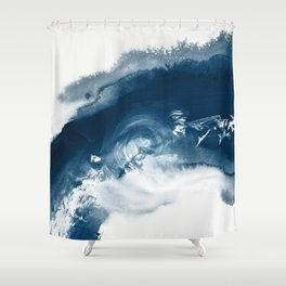 Building the Universe:  A minimal abstract acrylic painting in blue and white by Alyssa Hamilton Shower Curtain