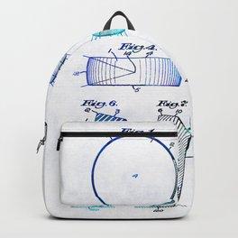 Blue Hockey Art - Hockey Puck Patent - Sharon Cummings Backpack
