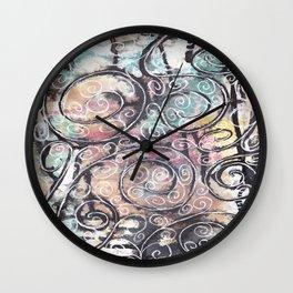 Sketchy Multicolor Swirls Wall Clock