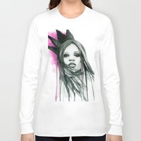 downton abbey Long Sleeve T-shirts featuring Watercolour Fashion Illustration Portrait Abbey Lee by Elise Reid