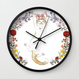 Fuku the Cat in Floral Wreath Wall Clock