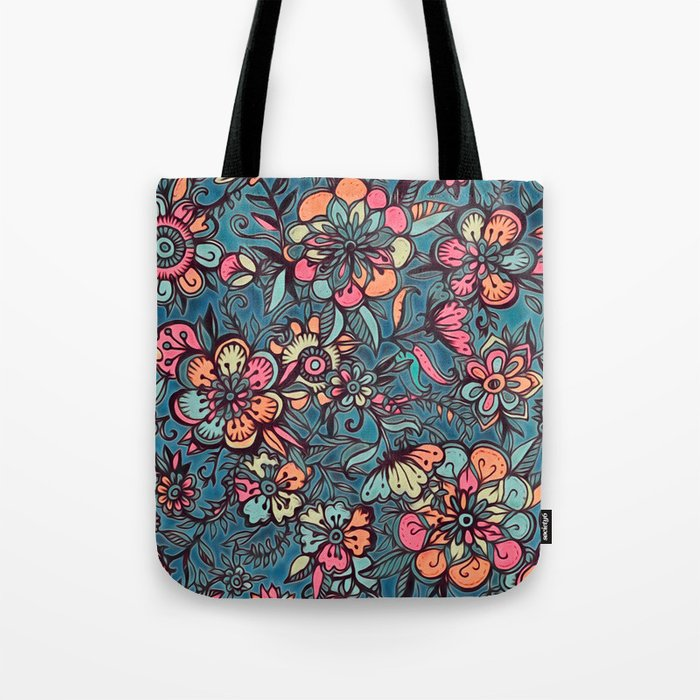 Sweet Spring Floral - melon pink, butterscotch & teal Tote Bag