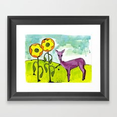 Deer with Sunflowers Framed Art Print