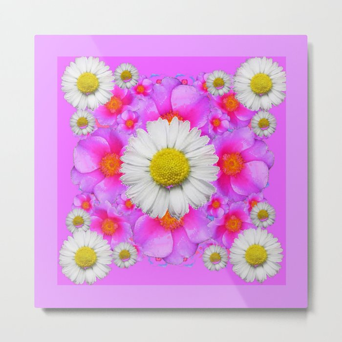Lilac Fuchsia Rose Bouquet Garden Shasta Daisies Art Metal Print