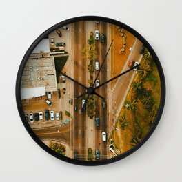 Aerial City Traffic (Color) Wall Clock
