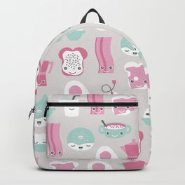 Kawaii breakfast good morning pattern with eggs coffee bacon and tea Backpack