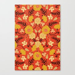 Vibrant Orange, Yellow & Brown Floral Pattern w/ Retro Colors Canvas Print