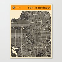 san francisco map Canvas Prints featuring San Francisco Map by Jazzberry Blue