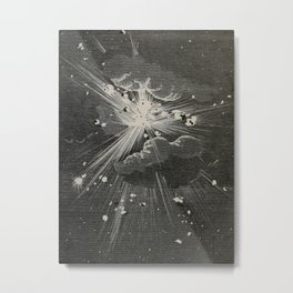 From the Earth to the Moon Black & White Space Explosion Ink Art 1874 Metal Print