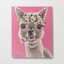 Alpaca Art, Alpaca Flower Crown Metal Print