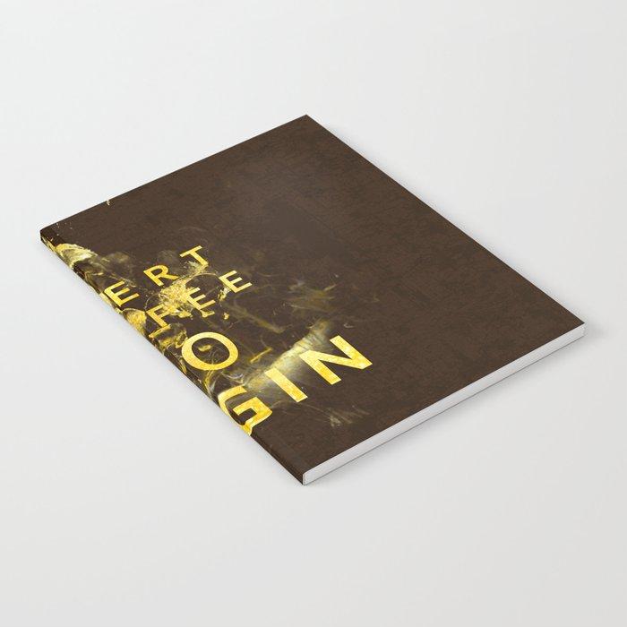 Insert coffee to begin - Gold glitter Typography Notebook