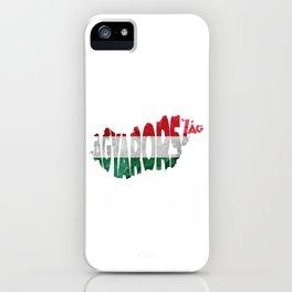 Magyarország World Map / Hungary Typography Flag Map Art iPhone Case