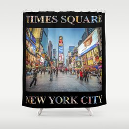 Times Square Sparkle (with type on black) Shower Curtain