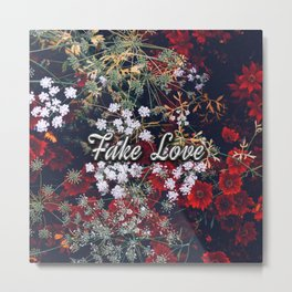 Fake Love Red Floral Metal Print